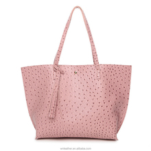 B-1069 2018 New Vintage Female Bag High Quality Ostrich Pattern PU Leather Big Handbag