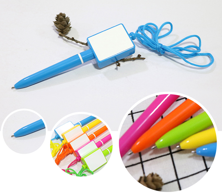 Fancy Personalized Advertising Logo Promotional Plastic Signature Ballpoint Pen With Lanyard