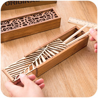 South Korea creative stationery lace hollow wooden pencil case, pencil box multifunctional case
