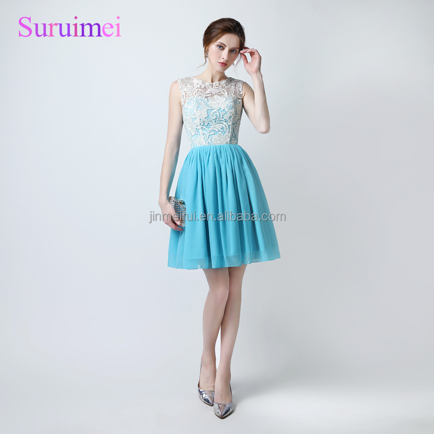 100% Real sample Ice Blue Cheap Short Prom Dresses 2018 vestido de festa longo Latest Party Gowns Vestidos de Noiva