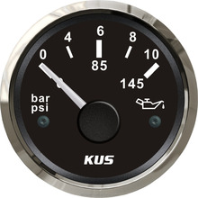 KUS 52mm Oil Pressure Gauges Meter 0-10Bar 0-145PSI For Marine Auto With Backlight 12V/24V