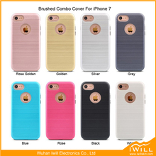 For iphone 7 brushed armor case tpu pc 2 in 1 hybrid mobile phone cover case