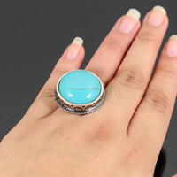 ROUND TURQUOISE STONE EMBEDDED FASHION STRETCH RING