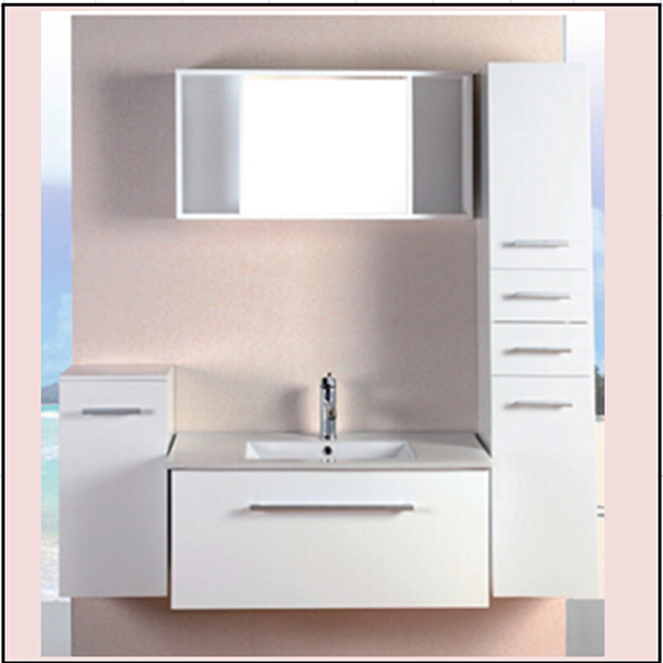 Cheap soild wood/PVC cabinet with bathroom sink