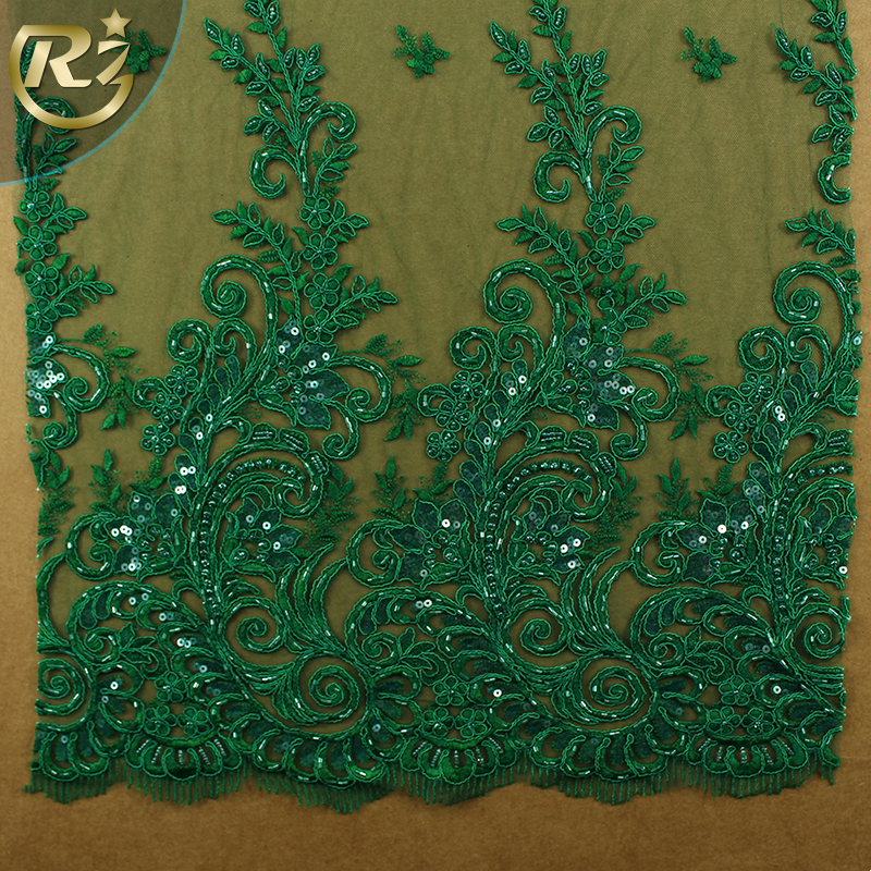 LF-376R1 Dierct Sale Embroidery Designs Polyester Green 3d Flower Applique Jacquard Lace Fabric
