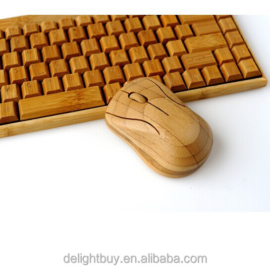 Natural Eco-Friendly Handmade 2.4g Wireless Bamboo Wooden Keyboard + Mouse for PC Laptop Multi-media 1 Pair