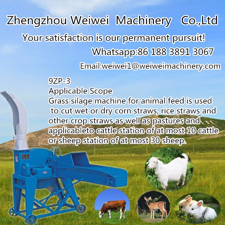 Grass ensilage chopper straw cutting animal livestock feed machine