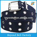 Blue Cotton Canvas Belt with Metal Eyelets and Double Pin Buckle