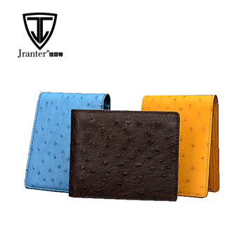 Luxury Ostrich Leather Wallet For Man, Handmade Custom Made Genuine Leather Wallet Manufacturer