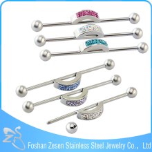 Wholesale Barbell Colorful Crystal Body Piercing Unique Industrial Barbell