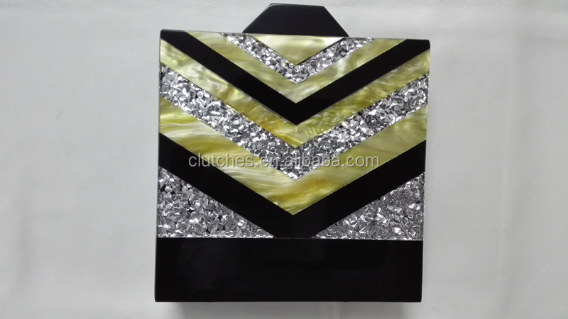 Vintage Elegant stylish silver confetti on Black acrylic box clutch for ladies HH-AC1655