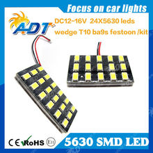 T10 White BA9S 24 SMD Car LED 5630 Panel Light Interior Room Dome Door Car Light Panel Lamp