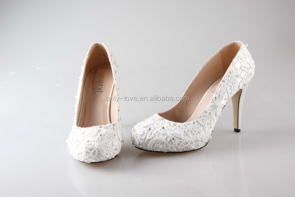 BS887 custom handmade ivory lace bridal wedding shoes high heel evening shoes party shoes