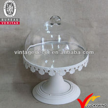 Pedestal Metal Stand Glass Cover Decorative Wedding Iron Cake Stand