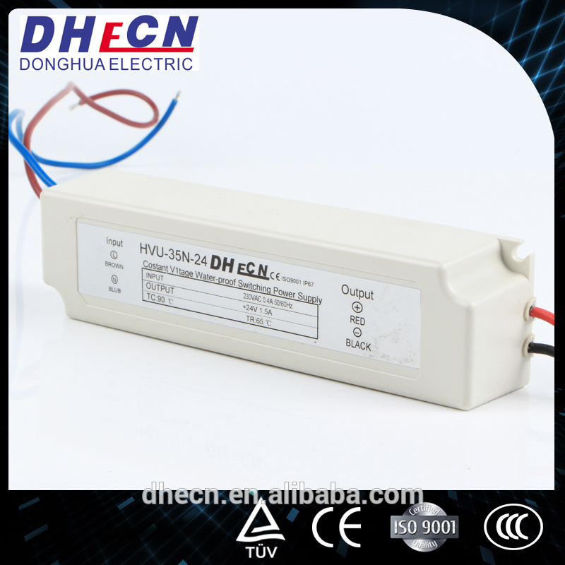 ac/dc waterproof switching power supply HVU-35N-24, 24VDC led driver IP67