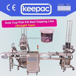 Auto Can Feeding, Picking-up, Filling, Lid Locking and Coding in straight line for beans or ice cream