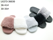 Popular design flat fur women slide slipper