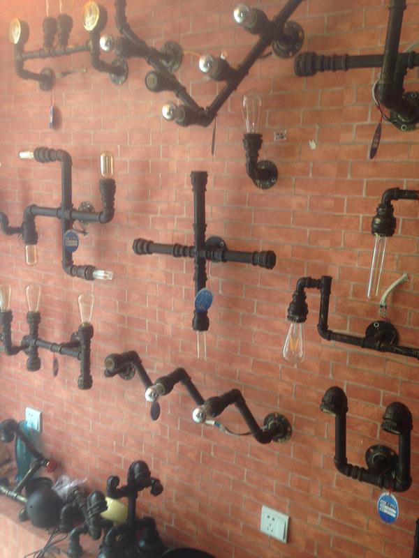 Retro bathroom light - 6 27 32 Lamp Beer Bottles Plumbing Pipe Fittings Wall