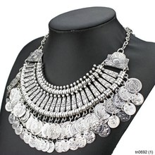 Factory Direct Sale Vintage Silver Color Double Coin Necklace 2015 Fashion Women Jewelry Choker Statement Necklace