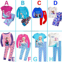 hot sale cheap long sleeve sexy kid frozen elsa sleepwear for girl outfit