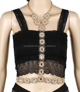 fancy bling diamond gem chain sexy waist belly body jewelry