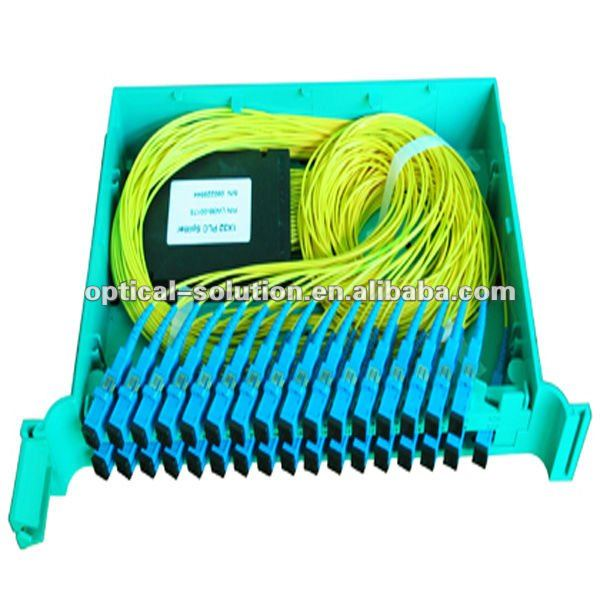 1x32 fiber PLC optical splitter in 32 port splice tray with adapters