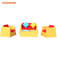 Hot Sell Patio Outdoor Plastic Cane Modular Sofa Sets Vintage Rattan Furniture