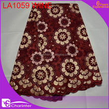wholesale fabric charinter lace african lace fabrics cotton fabric swiss voile lace LA1059 wine