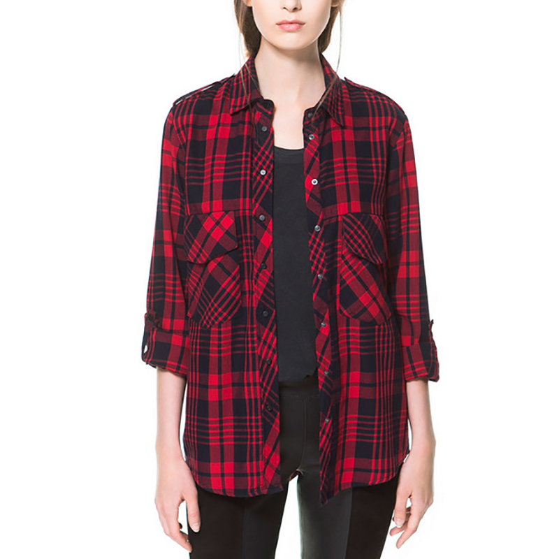 Red Plaid Women Blouses Shirts 2015 Autumn Winter Cotton Long Sleeve Casual Cardigan Blouse Tops Camisa Blusas Feminina WB176