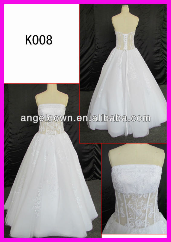 wholesale price saxy transparent bodice A line customized hot sell wedding dress Guangzhou Panyu wbridal gownwedding dress