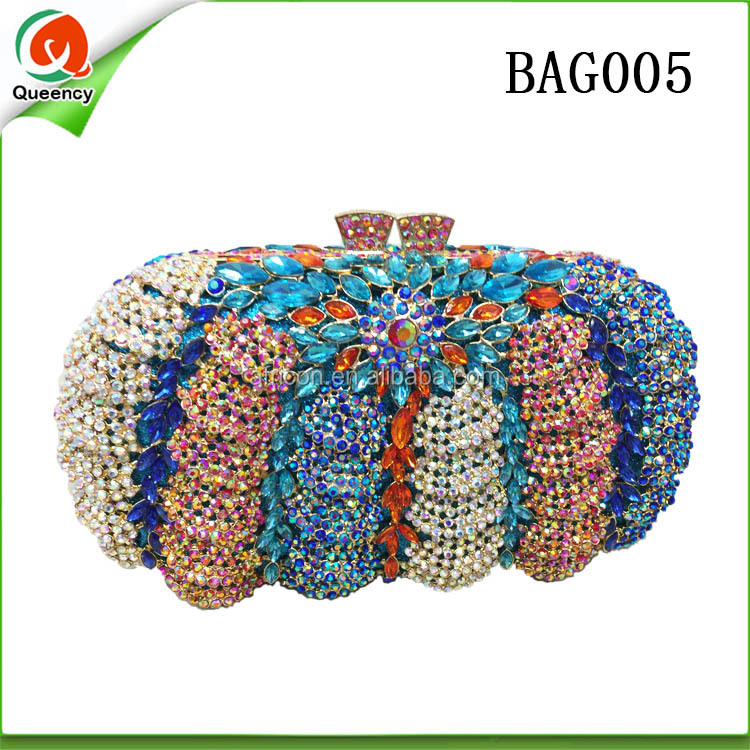 BAG005 Queency Crystal Stones Party Evening Clutch Bag Hand Bag