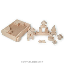 High Quality Natural Color Wooden Building Blocks Cart