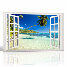 3D Window Sea View Canvas Art/Beach Scenery Canvas Print Dropship/Tropical Home Decoration Canvas Painting