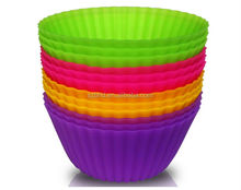 4 Colors of 12 Sets BPA Free Silicone Cupcake Liners Perfect for Muffin, Mini Cakes, Snacks, Frozen Treats and Any Dessert