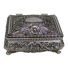 Ornate Antique Finish Rectangular Silver Plated Mirror Trinket Jewelry Box