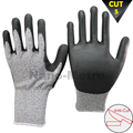 NMSAFETY hand care pu coated cut resistant gloves