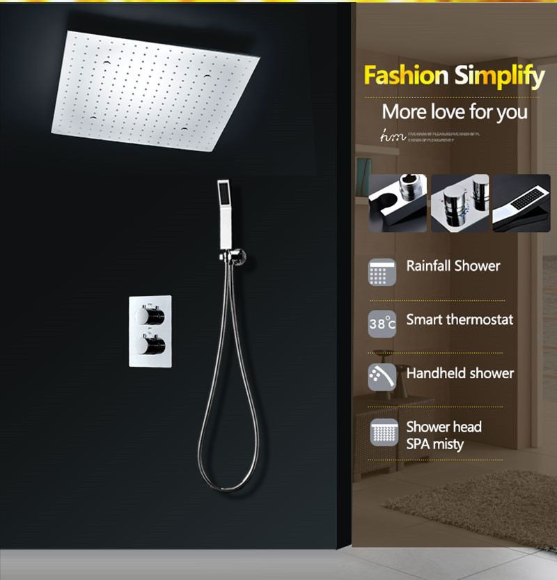New design 3 weater outlet thermostatic shower valve rainfall misty Led shower head set