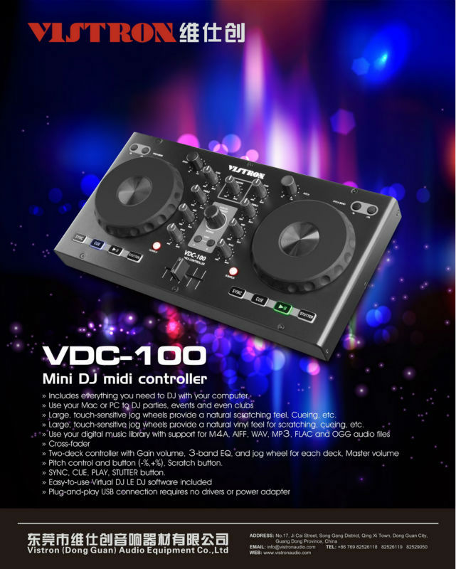 smart touch controls VDC-100M Mini DJ midi controller
