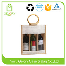 personalized clear view pvc window and cane handle style jute wine bag