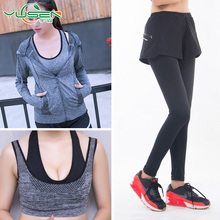 Autumn and winter yoga wear three frock suit sports women's fitness running clothes