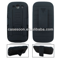 Mobile Phone Holster Belt Clip Combo Stand For Samsung Galaxy i9300 S3 SIII Case