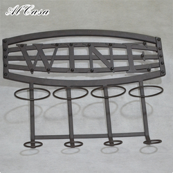 Home kitchen bar accessories holder wall mounted metal wire hanging wine glass rack for 4 bottle