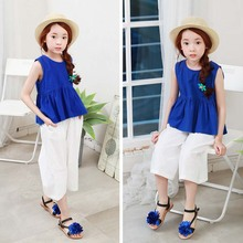 2017 new summer kids girl's cotton down big trousers