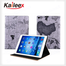 Map Pattern Leather Flip Case For Ipad Air 2 Leather Case With Kickstand