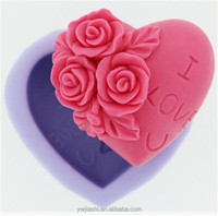 Stocked FDA silicone 3D heart rose shaped soap molds DIY candle mold