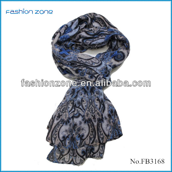 Chevron printed 100% polyester silk feel scarf