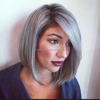 Factory fast delivery grey human hair short bob side part lace front wig