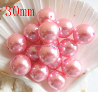 hotest !!! loose chunky pearl beads pink white acrylic pearl beads 30mm round loose beads