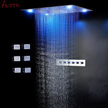 High quality 600*800mm 5 function shower head led light color changing ceiling rainfall waterfall misty curtain shower with jets