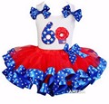 Girls Red Blue Star Satin Trimmed Tutu with 6th Rosette Cupcake White Tank Top
